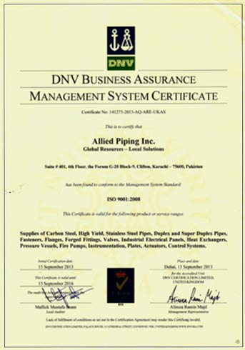 Industrial distributor ISO 9001 management Certificate